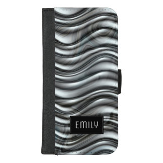 Capa Carteira Para iPhone 8/7 Plus Monograma metálico cinzento moderno da textura