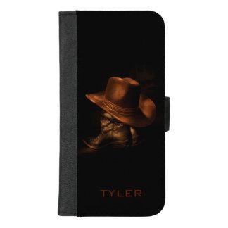 Capa Carteira Para iPhone 8/7 Plus O chapéu de vaqueiro e as botas de couro