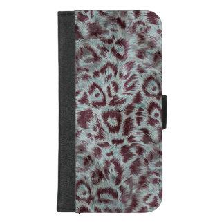 Capa Carteira Para iPhone 8/7 Plus O leopardo peludo exótico mancha a beringela azul
