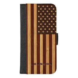 Capa Carteira Para iPhone 8/7 Plus Olhar de bambu & bandeira americana gravada dos