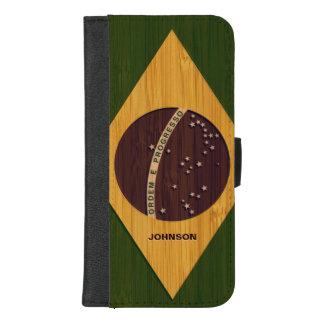 Capa Carteira Para iPhone 8/7 Plus Olhar de bambu & bandeira gravada de Brasil do