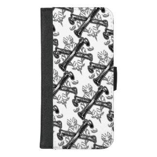 Capa Carteira Para iPhone 8/7 Plus Ossos cruzados filigranas
