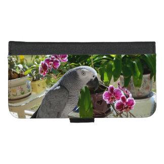 Capa Carteira Para iPhone 8/7 Plus Papagaio do cinza africano com orquídeas