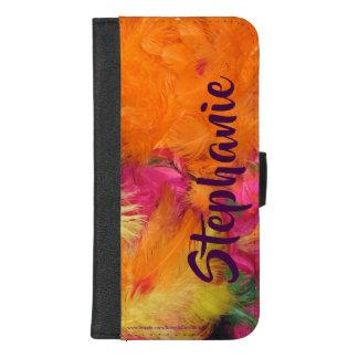 Capa Carteira Para iPhone 8/7 Plus Penas cor-de-rosa alaranjadas da caixa da carteira