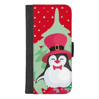 Capa Carteira Para iPhone 8/7 Plus Pinguim festivo com trenó - vermelho