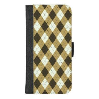Capa Carteira Para iPhone 8/7 Plus Preto e teste padrão geométrico de Argyle das
