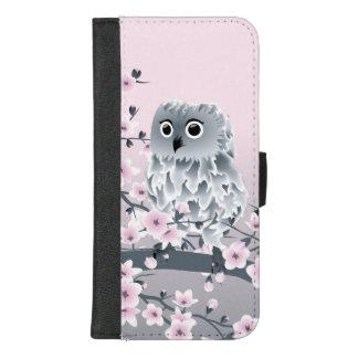 Capa Carteira Para iPhone 8/7 Plus Rosa bonito da coruja e das flores de cerejeira