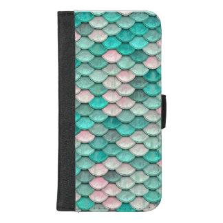 Capa Carteira Para iPhone 8/7 Plus Rosa brilhante do verde do teste padrão do efeito