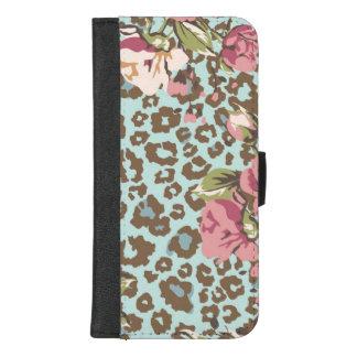 Capa Carteira Para iPhone 8/7 Plus Rosas azuis do rosa do leopardo