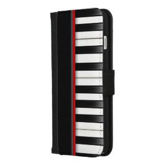Capa Carteira Para iPhone 8/7 Plus teclado de piano preto e branco