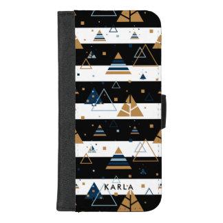 Capa Carteira Para iPhone 8/7 Plus Teste padrão Triângulo-Preto & branco colorido das