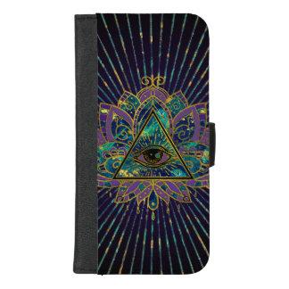 Capa Carteira Para iPhone 8/7 Plus Todo o olho místico de vista na flor de Lotus