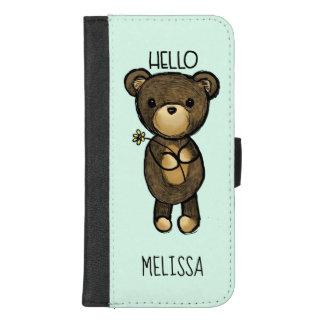 Capa Carteira Para iPhone 8/7 Plus Urso de Brown bonito que guardara uma flor amarela