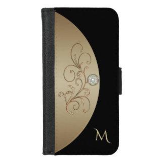 Capa Carteira Para iPhone 8/7 Preto e caixa celta da carteira do monograma do