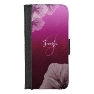 Capa Carteira Para iPhone 8/7 Rosa quente Borgonha Ombre do monograma floral
