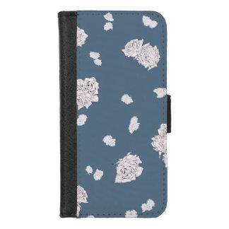 Capa Carteira Para iPhone 8/7 Rosas azuis e brancos