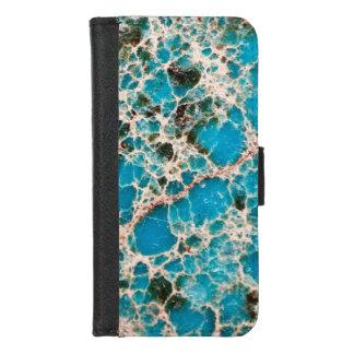 Capa Carteira Para iPhone 8/7 Série de pedra preciosa - mosaico de turquesa