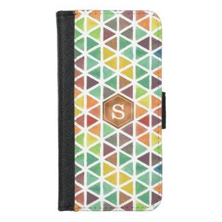 Capa Carteira Para iPhone 8/7 Teste padrão geométrico da aguarela (tons do
