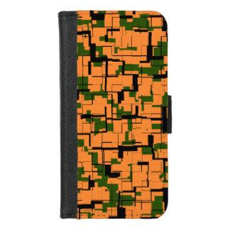 Capa Carteira Para iPhone 8/7 Teste padrão preto verde alaranjado de Digitas