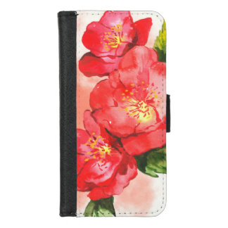 Capa Carteira Para iPhone 8/7 Três cor-de-rosa e rosas vermelhos da aguarela