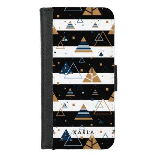 Capa Carteira Para iPhone 8/7 Triângulos coloridos com as listras pretas &