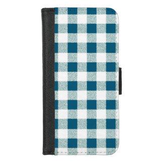Capa Carteira Para iPhone 8/7 Verde azulado da verificação do guingão