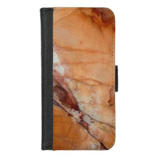 Capa Carteira Para iPhone 8/7 Vermelho alaranjado e mármore veado branco