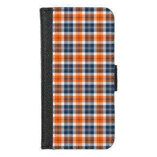 Capa Carteira Para iPhone 8/7 Xadrez desportiva alaranjada e azul
