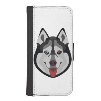 Capa Carteira Para iPhone SE/5/5s A ilustração persegue o rouco Siberian da cara