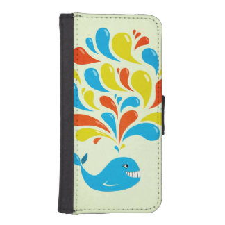 Capa Carteira Para iPhone SE/5/5s Baleia feliz dos desenhos animados do respingo