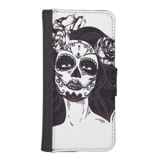 Capa Carteira Para iPhone SE/5/5s Crânio gótico