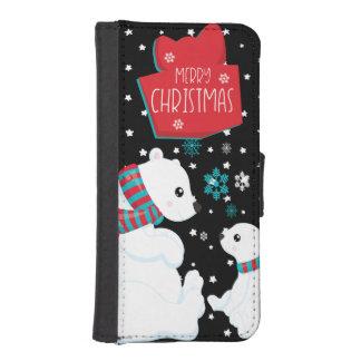 Capa Carteira Para iPhone SE/5/5s Dois Felizes Natais dos ursos polares