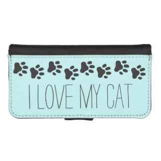 Capa Carteira Para iPhone SE/5/5s Eu amo minha caixa da carteira do iPhone 5 do gato