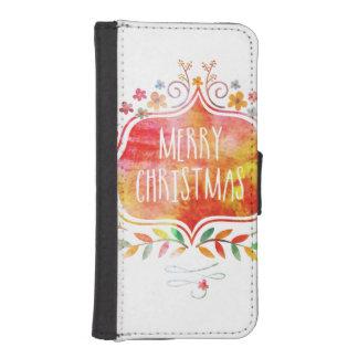 Capa Carteira Para iPhone SE/5/5s Feliz Natal retro da aguarela
