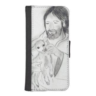 Capa Carteira Para iPhone SE/5/5s Jesus com cordeiro