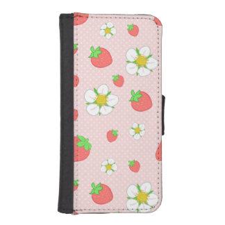 Capa Carteira Para iPhone SE/5/5s Muito morangos da baga no rosa
