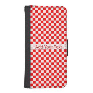 Capa Carteira Para iPhone SE/5/5s Tabuleiro de damas clássico vermelho e branco por