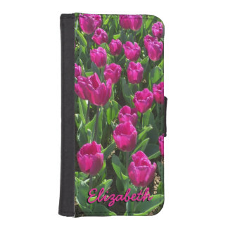Capa Carteira Para iPhone SE/5/5s Tulipas brilhantes bonitas do rosa quente