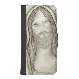 Capa Carteira Para iPhone SE/5/5s Um Jesus solene
