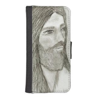 Capa Carteira Para iPhone SE/5/5s Um Jesus solene II