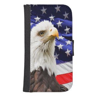 Capa Carteira Para Samsung Galaxy S4 Bandeira americana da águia americana
