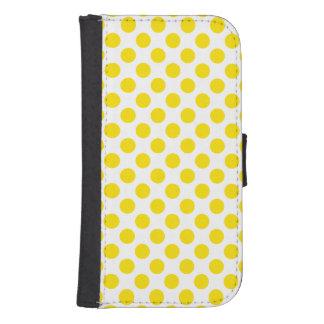 Capa Carteira Para Samsung Galaxy S4 Bolinhas amarelas
