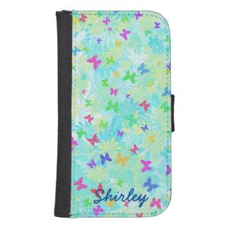 Capa Carteira Para Samsung Galaxy S4 Borboletas e margaridas coloridas por Shirley