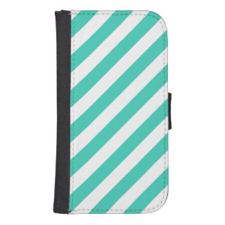 Capa Carteira Para Samsung Galaxy S4 Cerceta e teste padrão diagonal branco das listras