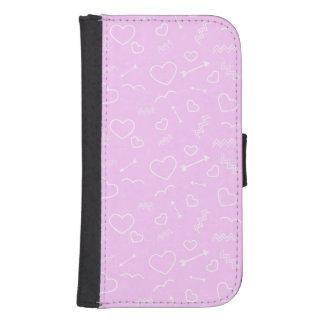 Capa Carteira Para Samsung Galaxy S4 Coração e seta cor-de-rosa e brancos do amor dos