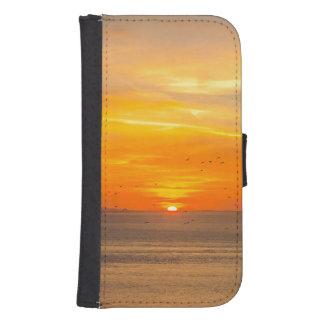 Capa Carteira Para Samsung Galaxy S4 Costa do por do sol com Sun alaranjado e pássaros