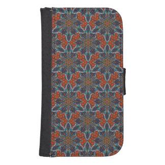 Capa Carteira Para Samsung Galaxy S4 Design floral do teste padrão do abstrato da