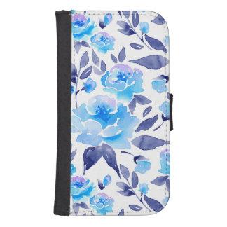 Capa Carteira Para Samsung Galaxy S4 O azul da aguarela floresce 2