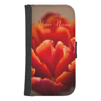 Capa Carteira Para Samsung Galaxy S4 Pétalas vermelhas bonito da tulipa. Adicione seu