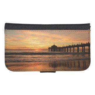 Capa Carteira Para Samsung Galaxy S4 Por do sol da praia do cais
